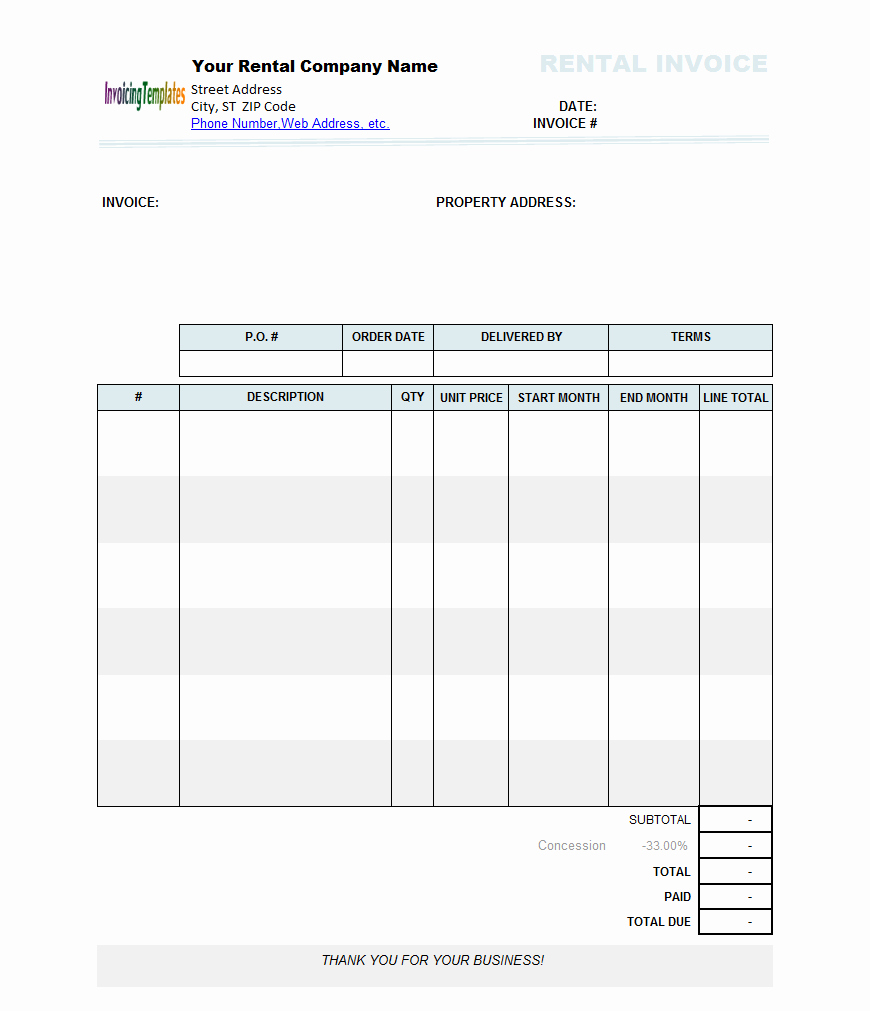 Rental Invoice Template Word