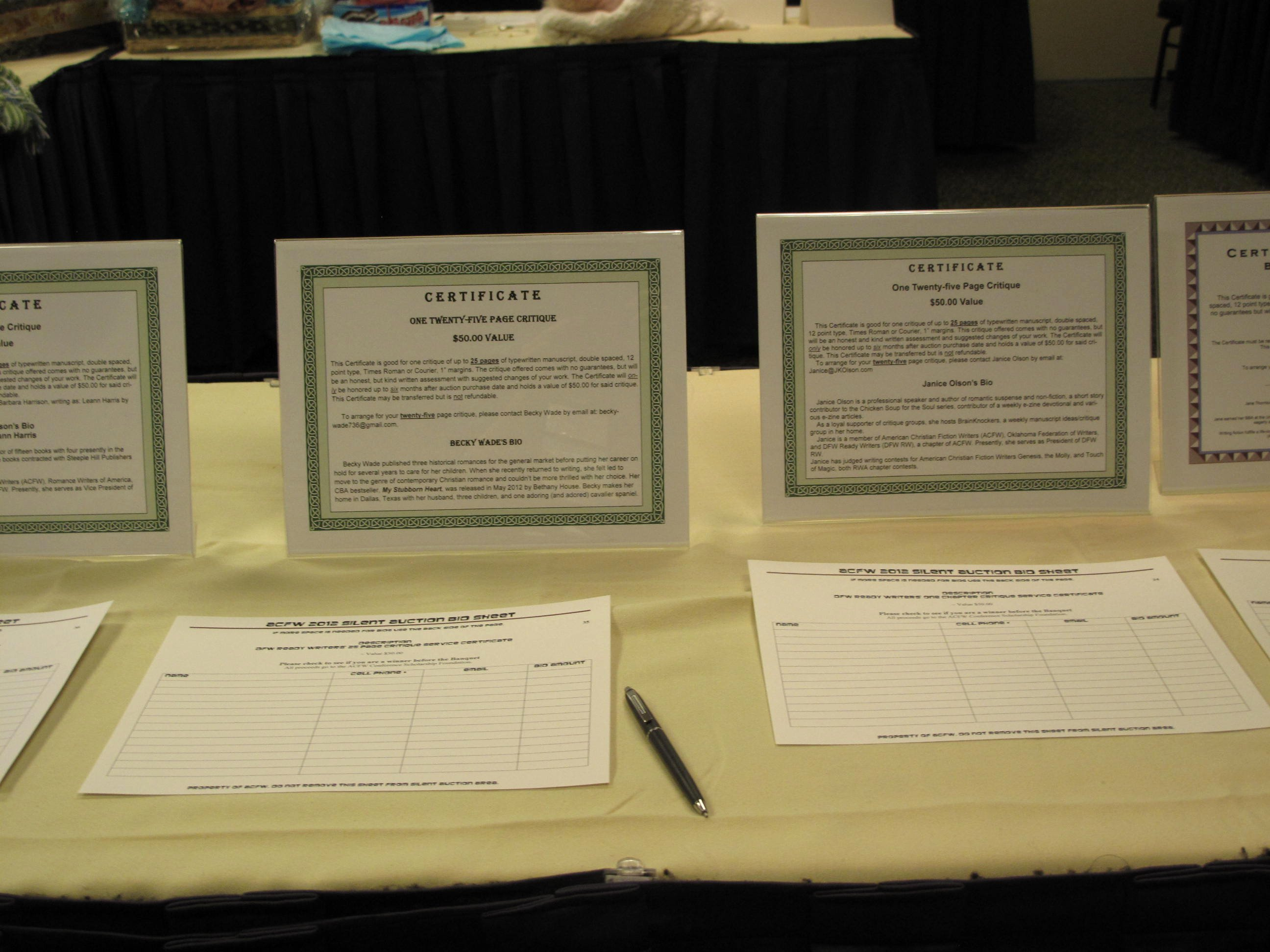 Report From Acfw's Silent Auction