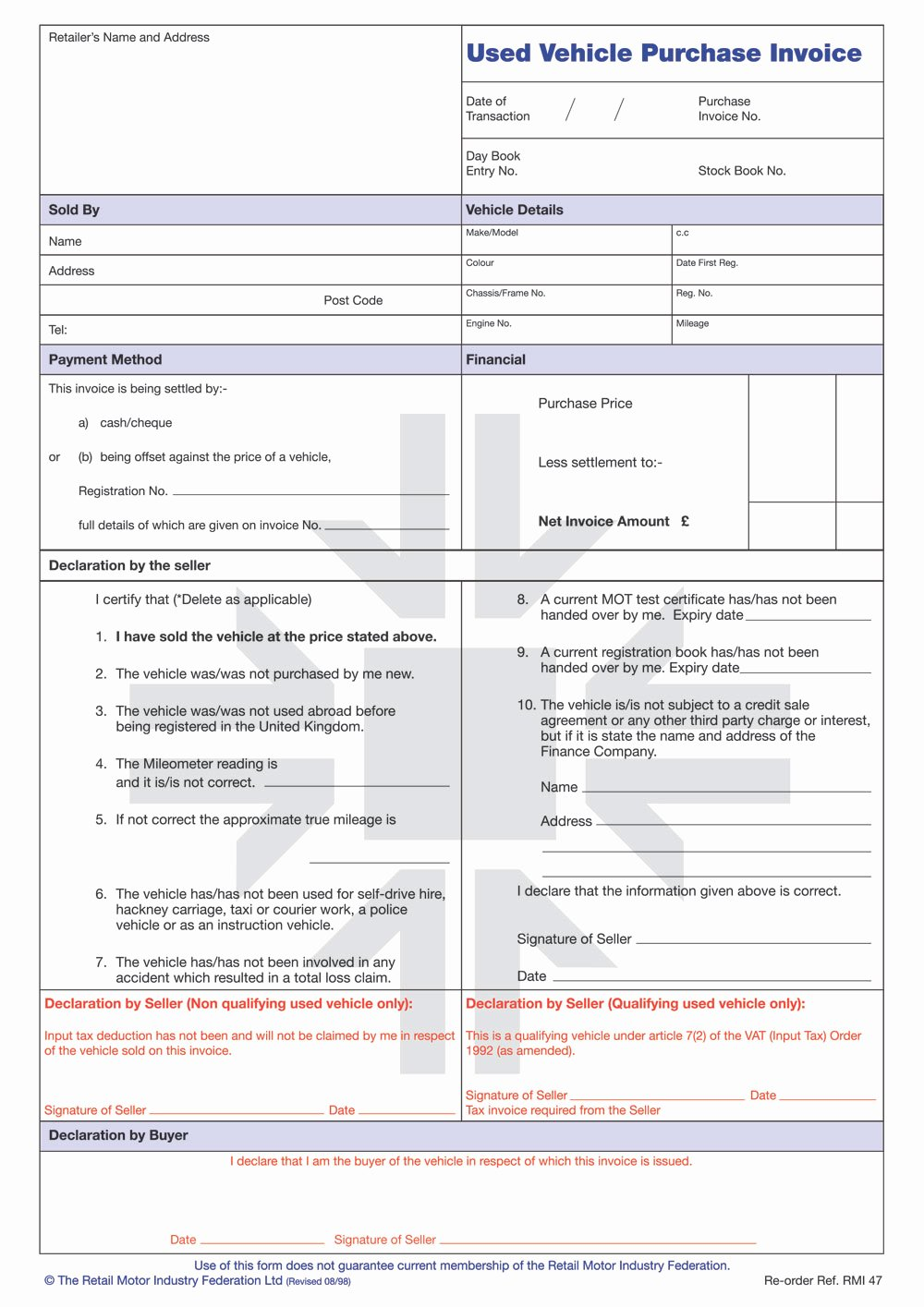 Rmi047p Used Vehicle Purchase Invoice Pad Rmi Webshop