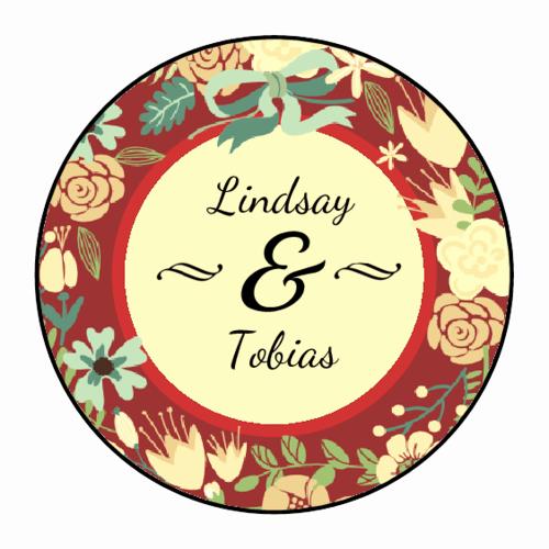 Round Sticker Design Template Florid Wedding Circle Labels