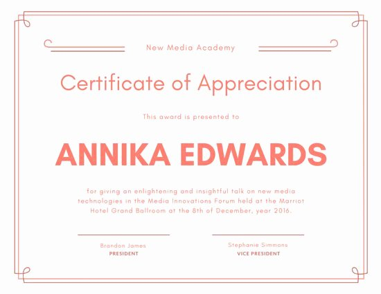 Salmon Pink Appreciation Certificate Templates by Canva