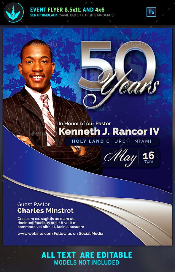 Sapphire Blue Pastor S Anniversary Church Flyer Template