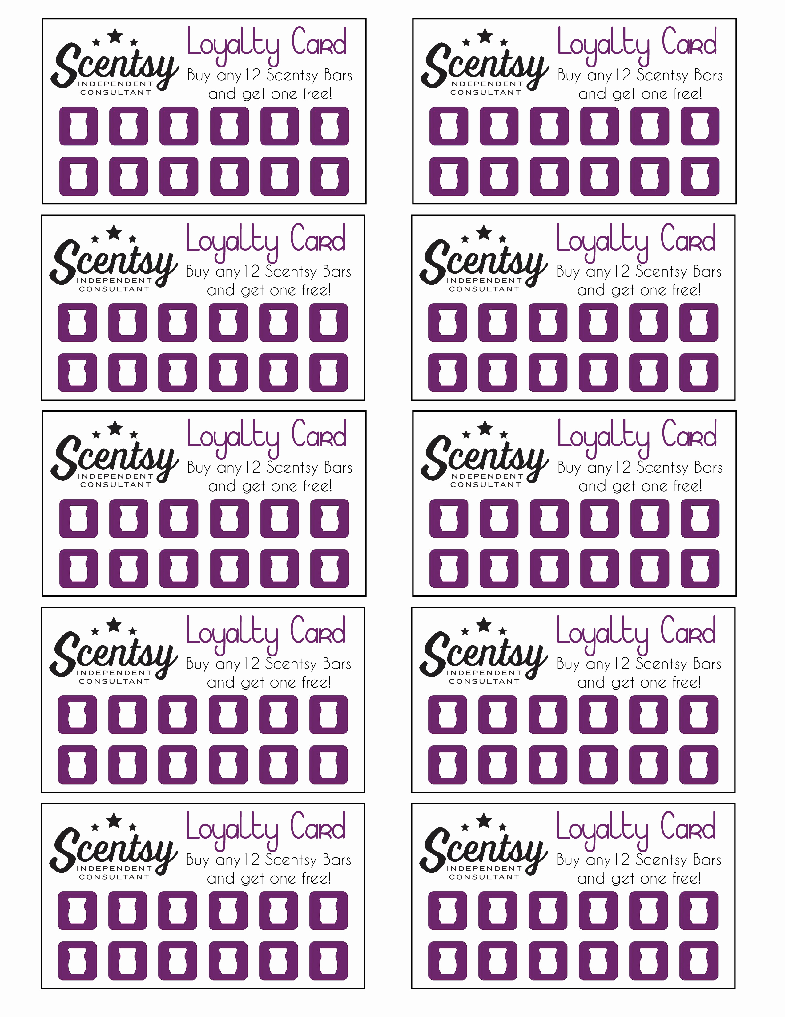 Scentsy Loyalty Card …