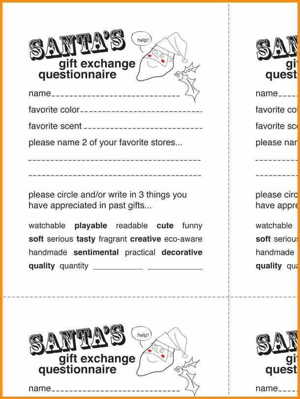 Secret Santa Questionnaire Template Invitation Template