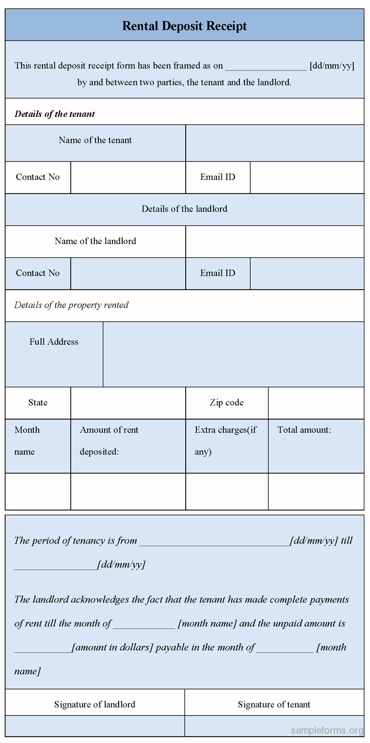Security Deposit Receipt form Sample forms