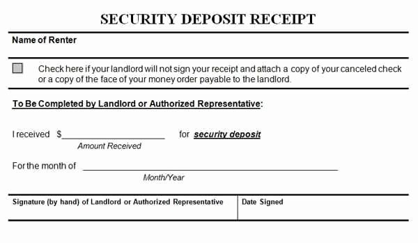Security Deposit Receipt Templates Find Word Templates