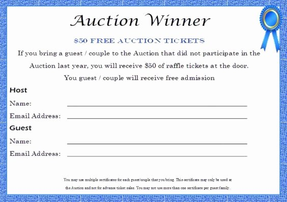 Silent Auction Winner Certificate Template Raffle
