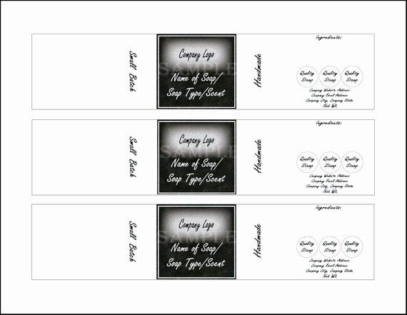 "Soap Label Template Printable 4 Files 4 Diy 2 X 10"" Blank"