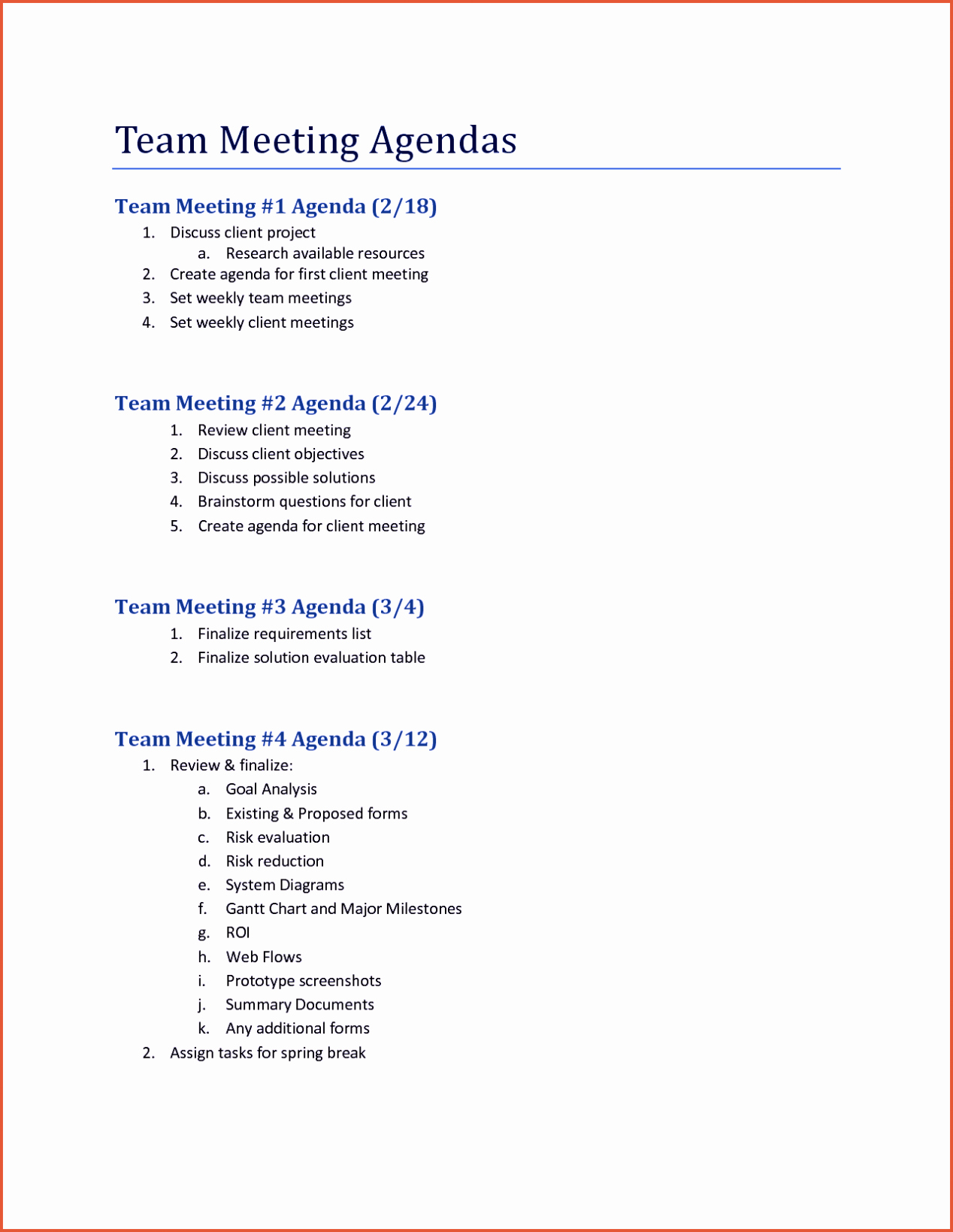 Staff Board & Team Meeting Agenda Template Word Excel