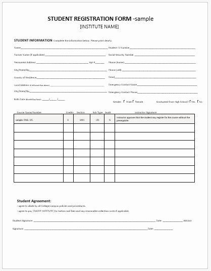 Student Registration forms for Ms Word