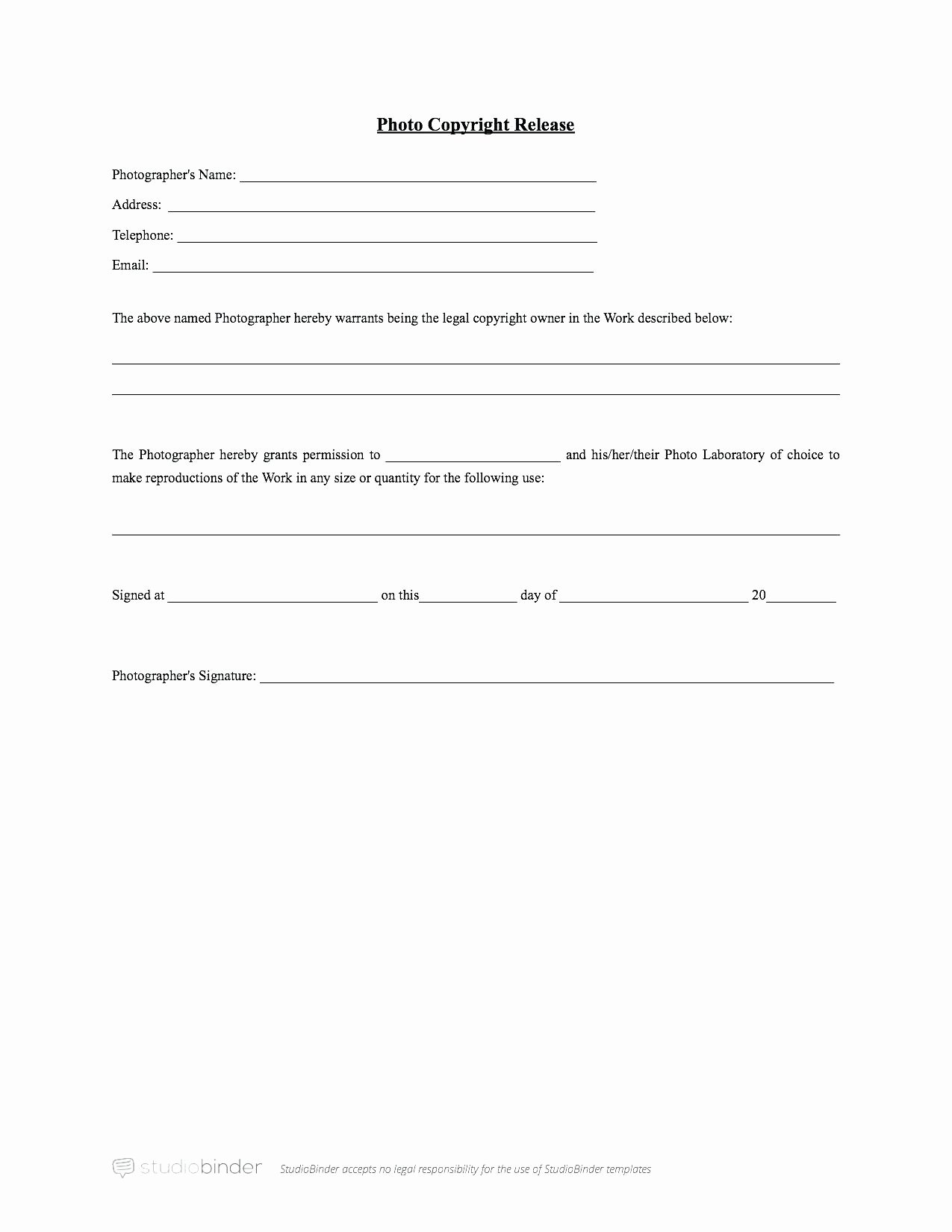 Student Release form Template