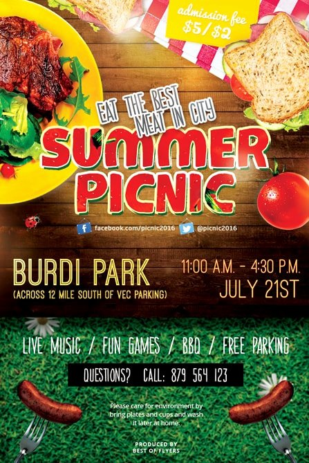 Summer Picnic Free Psd Flyer Template