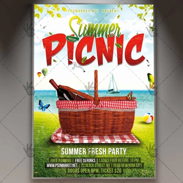 Summer Picnic Premium Flyer Psd Template