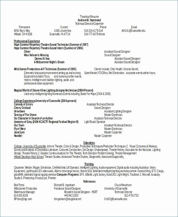 Technical theatre Resume – Igniteresumes