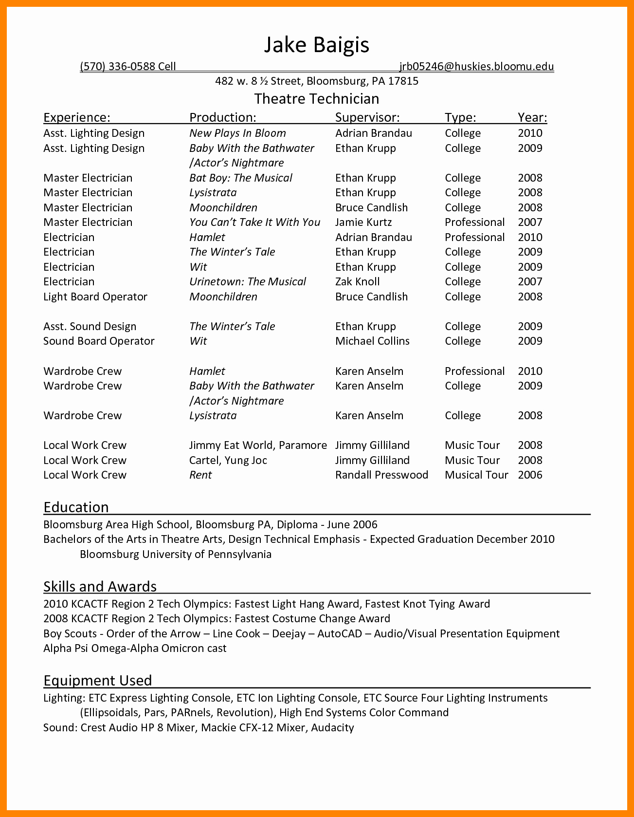 Technical theatre Resume Template Resume Ideas