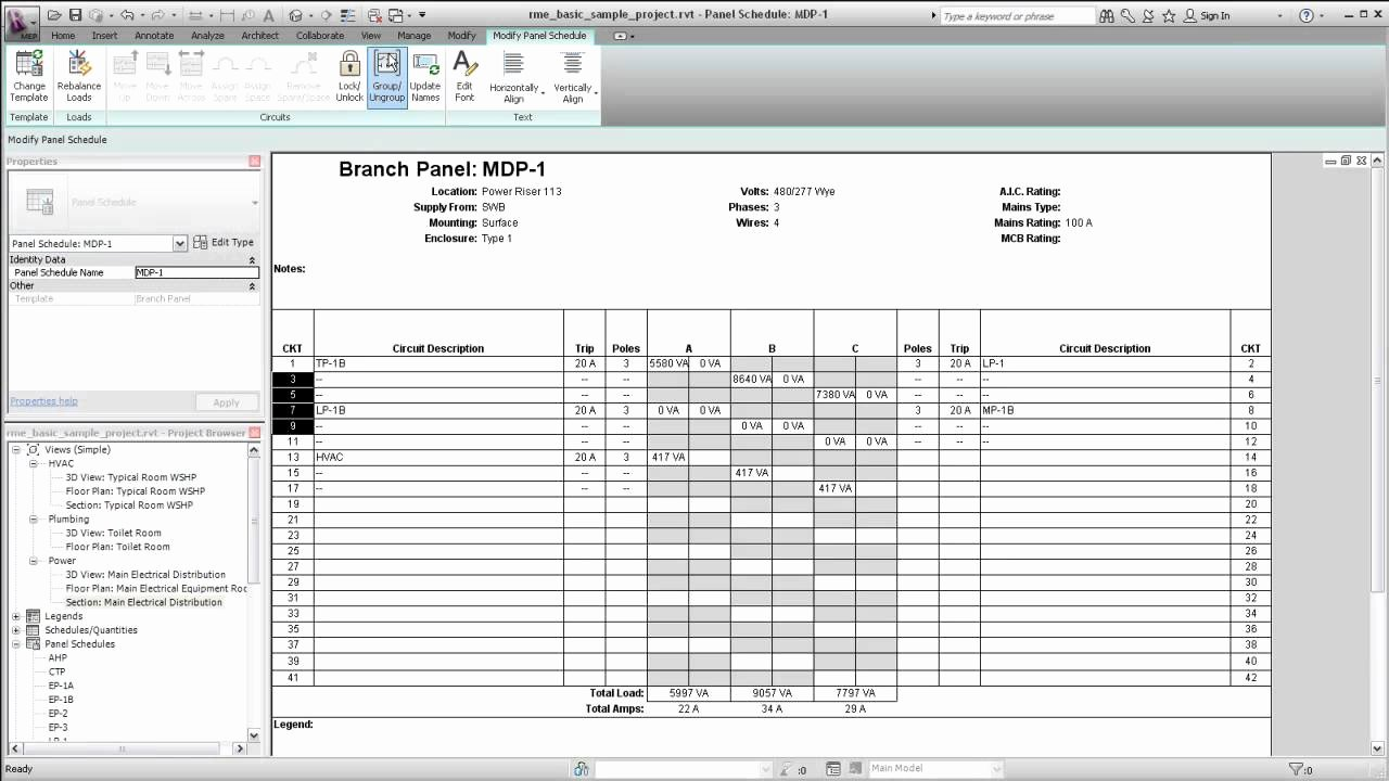 Template for Electrical Panel Schedule Free Programs