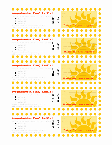 Templates Certificates Raffle Ticket Sun Design with Stub