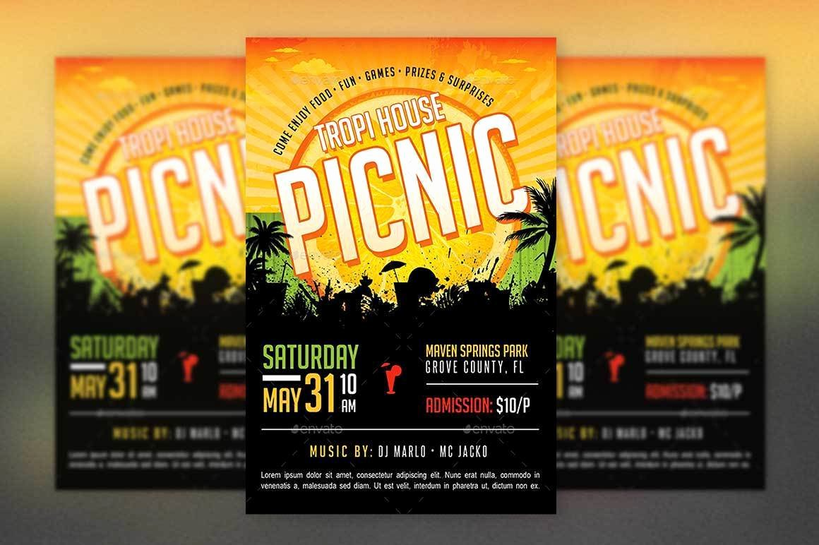 Tropical Picnic Flyer Template Church Picnic Funday