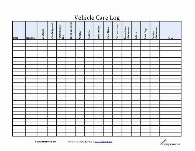 Truck Maintenance Schedule Excel Template