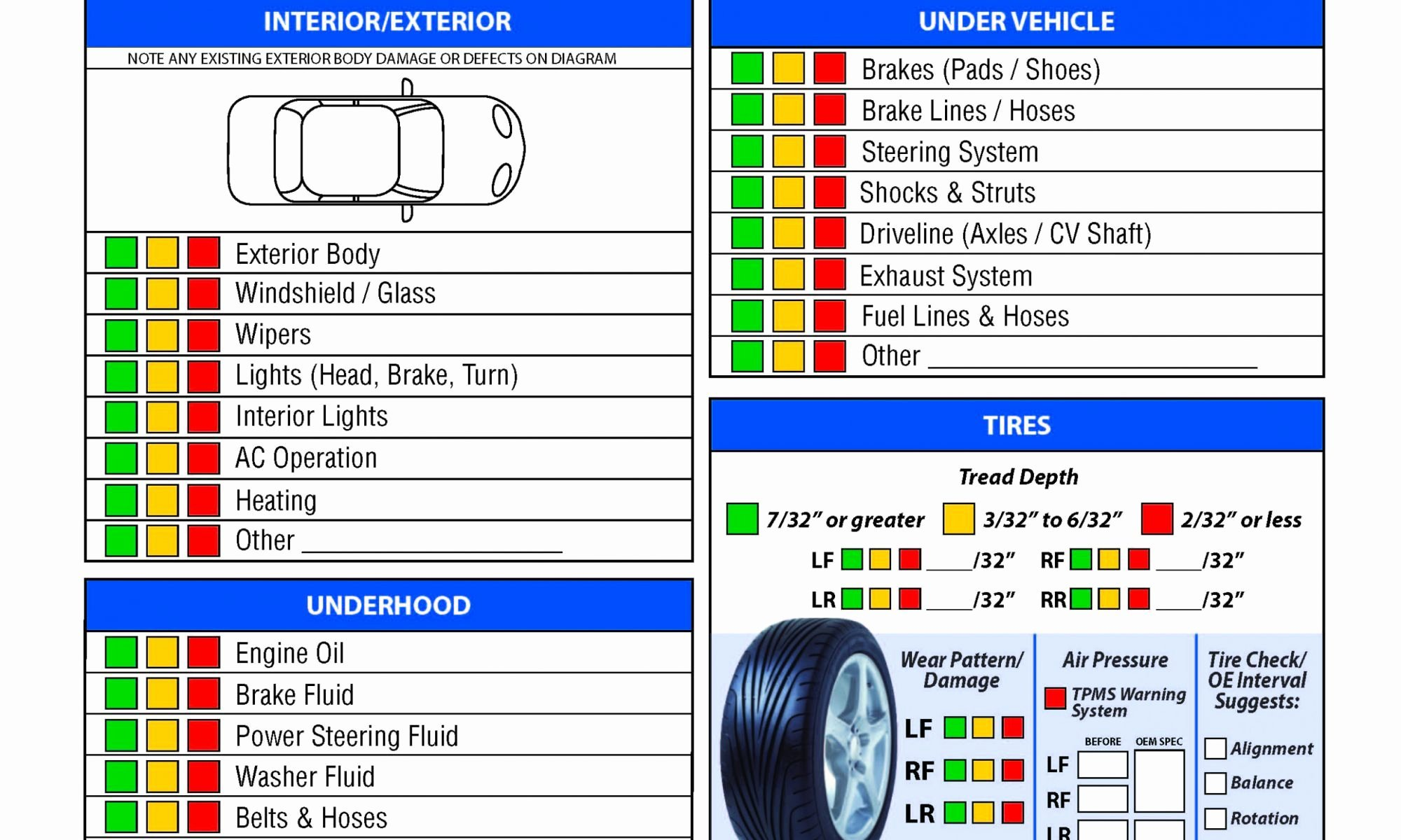 Vehicle Inspection Report Template Free Spreadsheet form