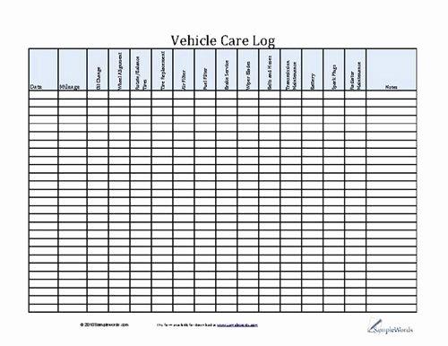 Vehicle Maintenance Schedule Template Excel