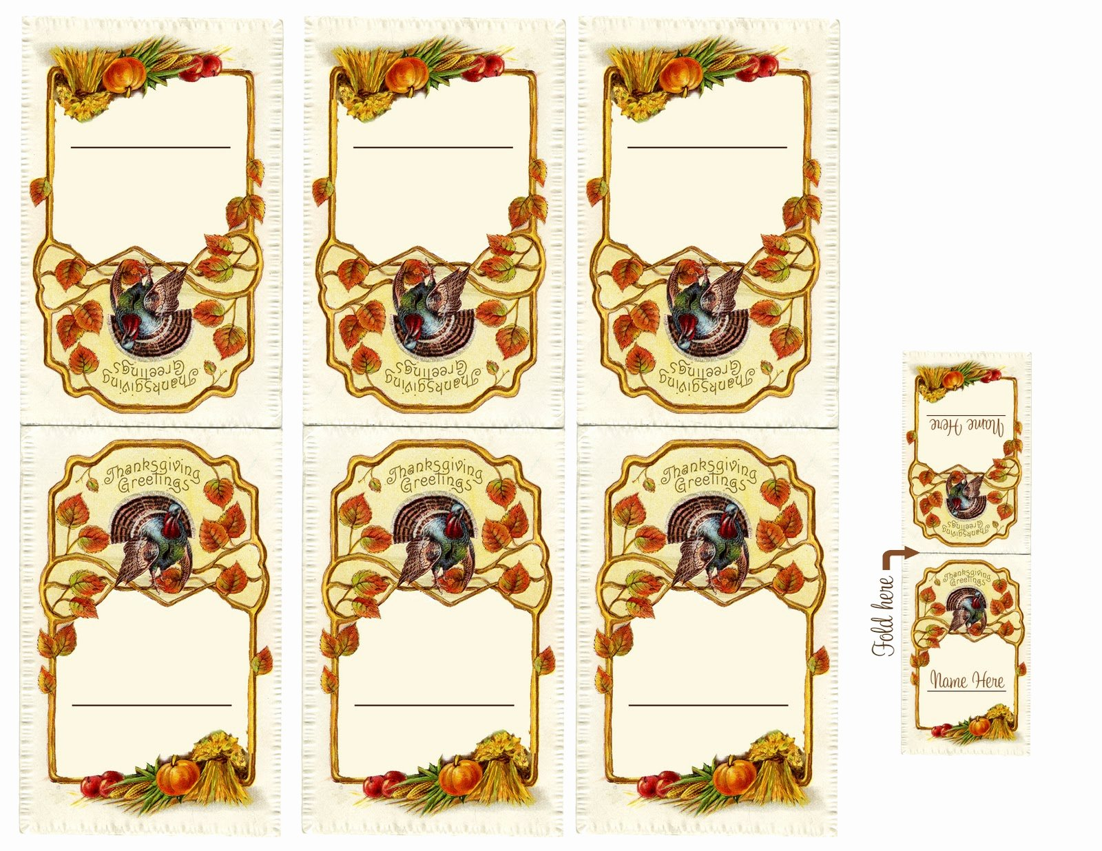 Vintage Creations Thanksgiving Diner Place Cards