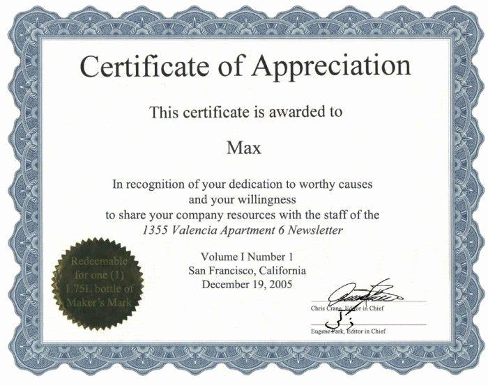 Volunteer Recognition Certificate Template Certificate