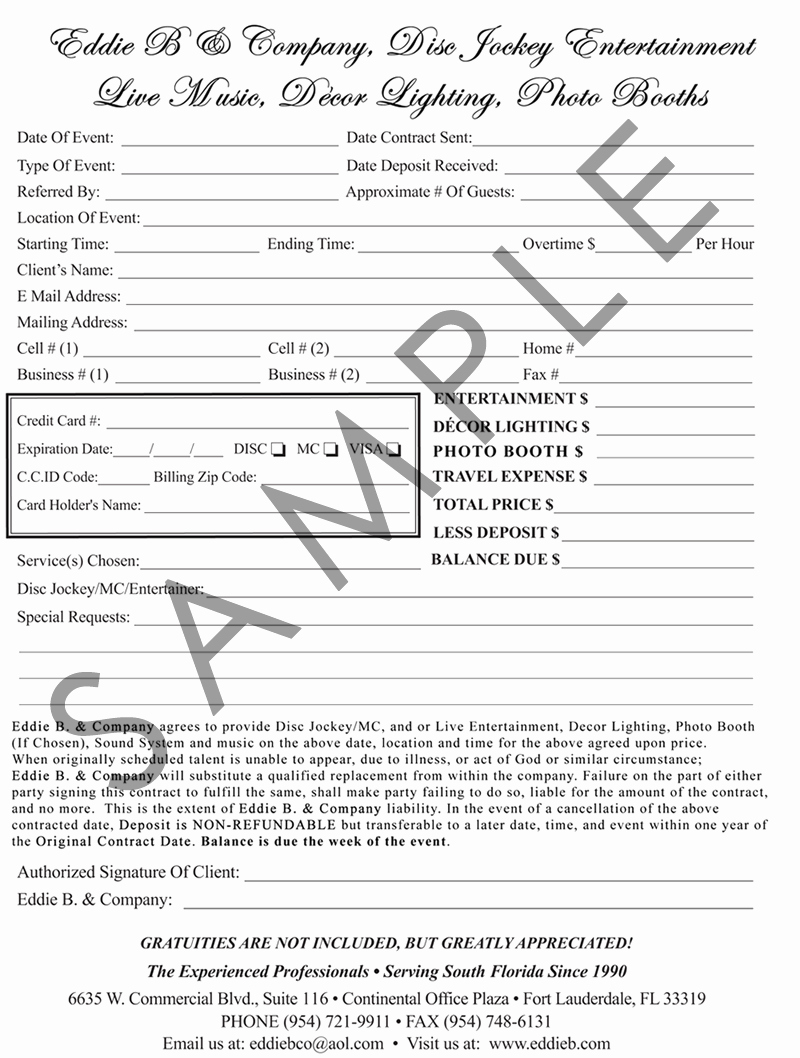 Wedding Dj Contract Free Printable Documents