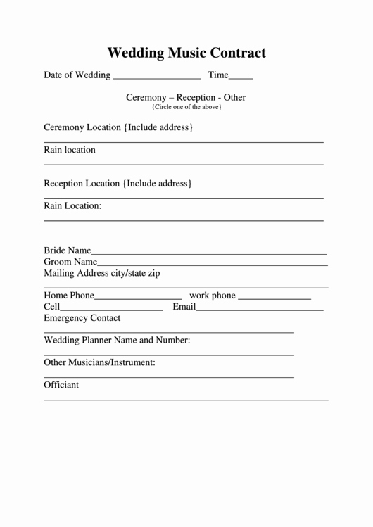 Wedding Music Contract Printable Pdf