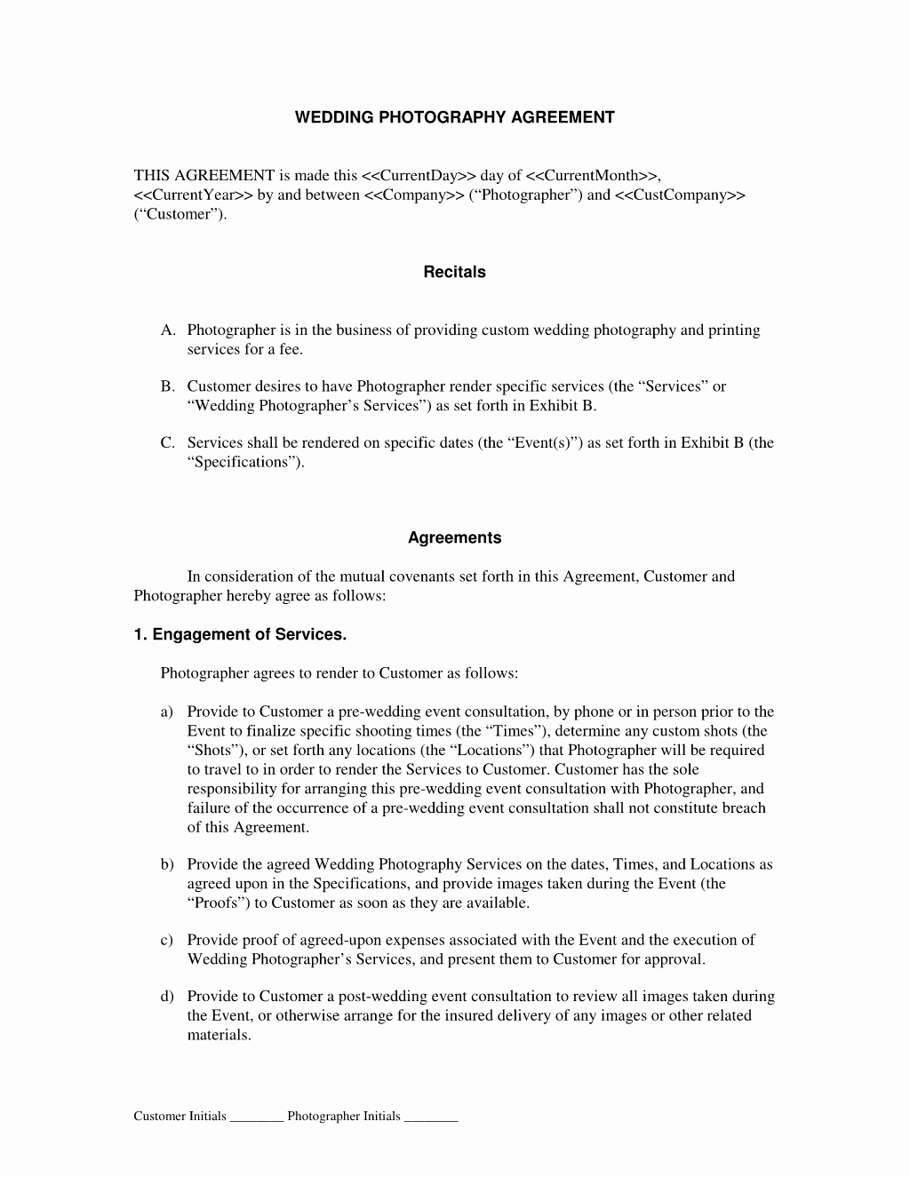 Wedding Pography Contract form