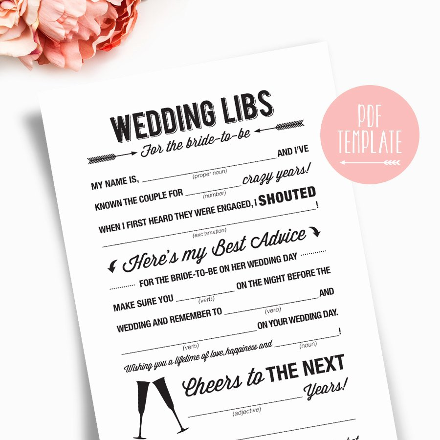 Wedding Shower Mad Libs Printable Template Kraft Sign Card