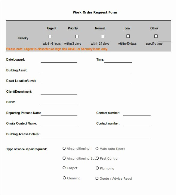 Work order Template 13 Free Word Excel Pdf Document