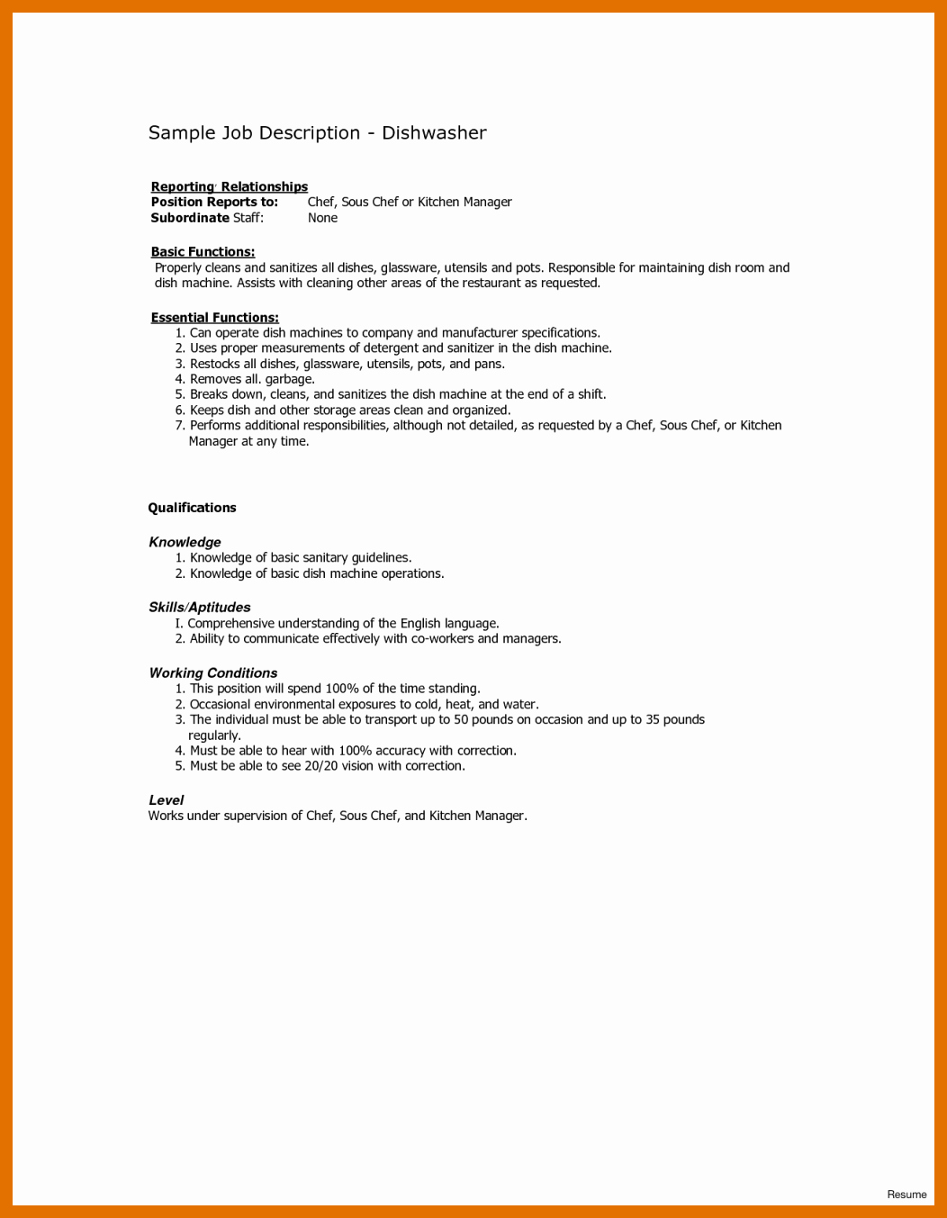 Description 0 1 Sample Resume For Restaurant Dishwasher Busser Job