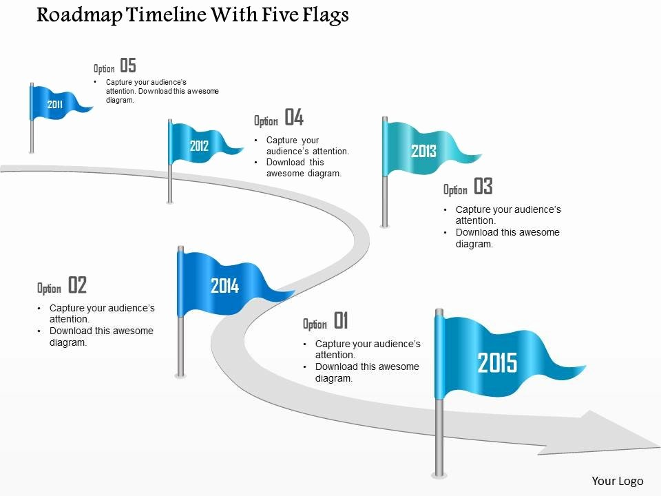 0115 Roadmap Timeline with Five Flags Powerpoint Template