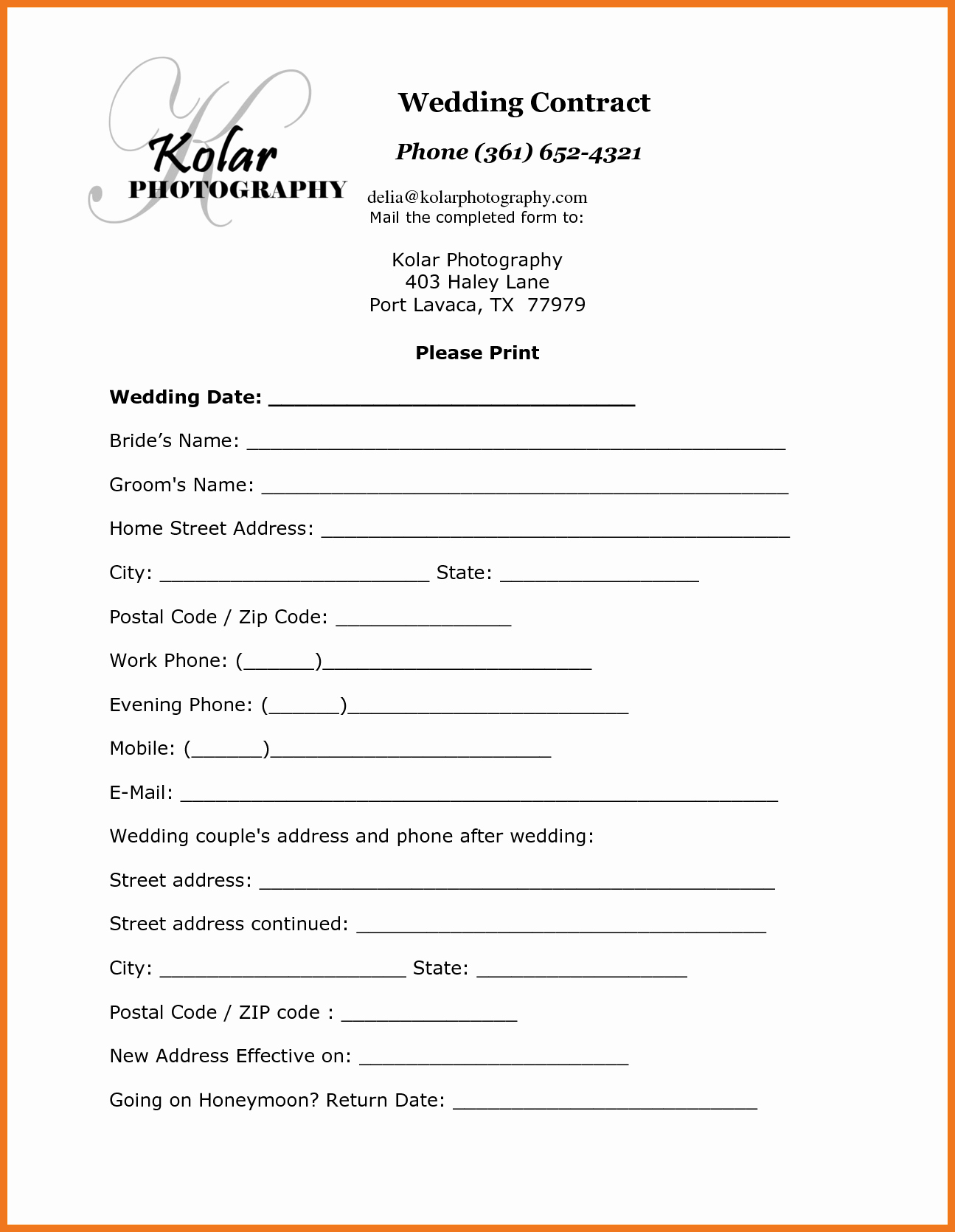 1 2 Wedding Contract Template