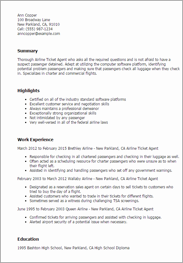 1 Airline Ticketing Agent Resume Templates Try them now