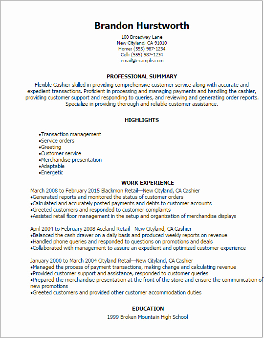 1 Cashier Resume Templates Try them now