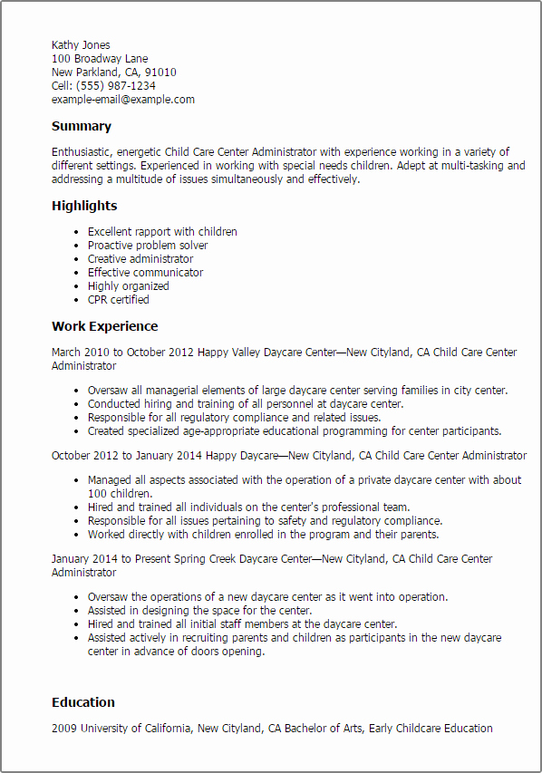 1 Child Care Center Administrator Resume Templates Try