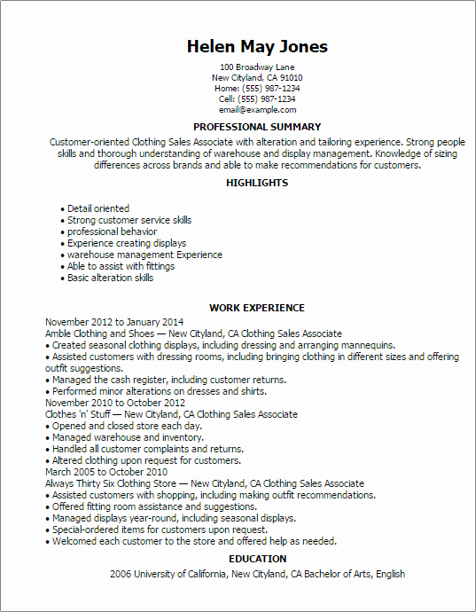 1 Clothing Sales associate Resume Templates Try them now