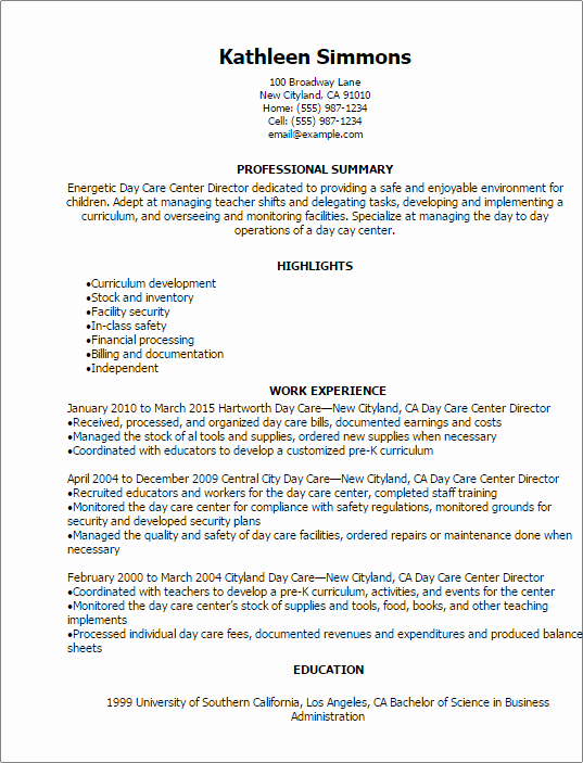 1 Day Care Center Director Resume Templates Try them now