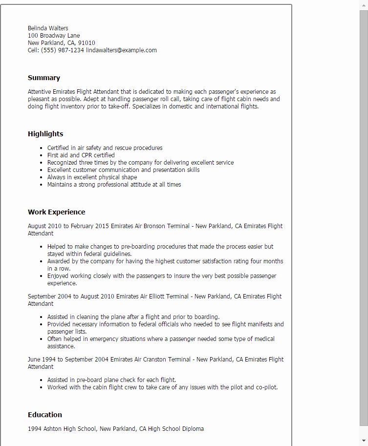 1 Emirates Flight attendant Resume Templates Try them