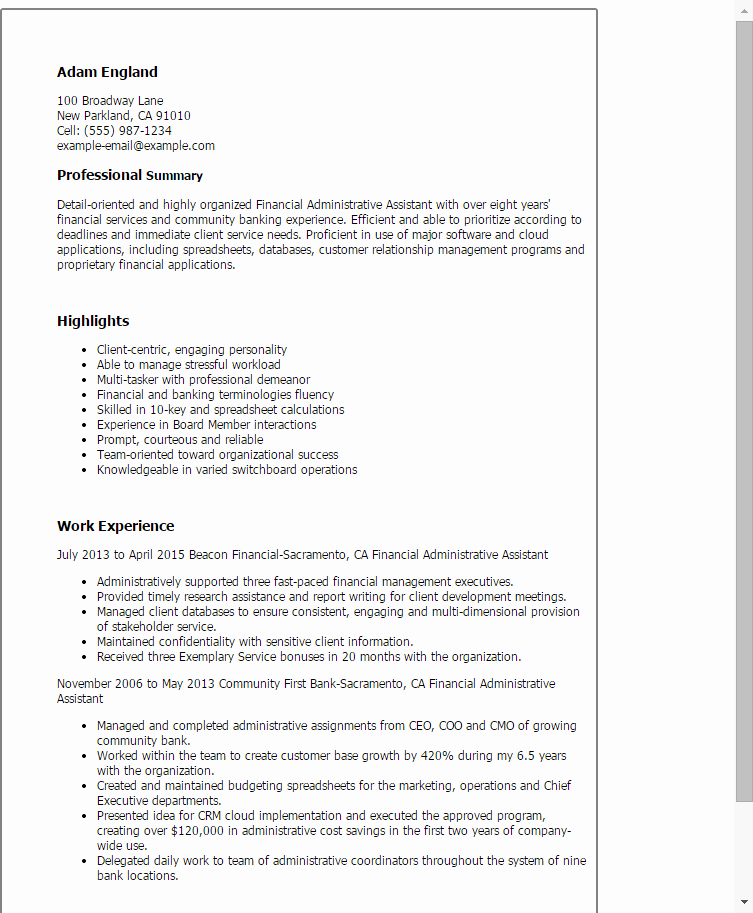 1 Financial Administrative assistant Resume Templates