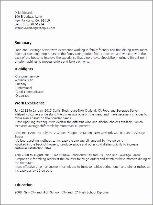 1 Food and Beverage Server Resume Templates Try them now