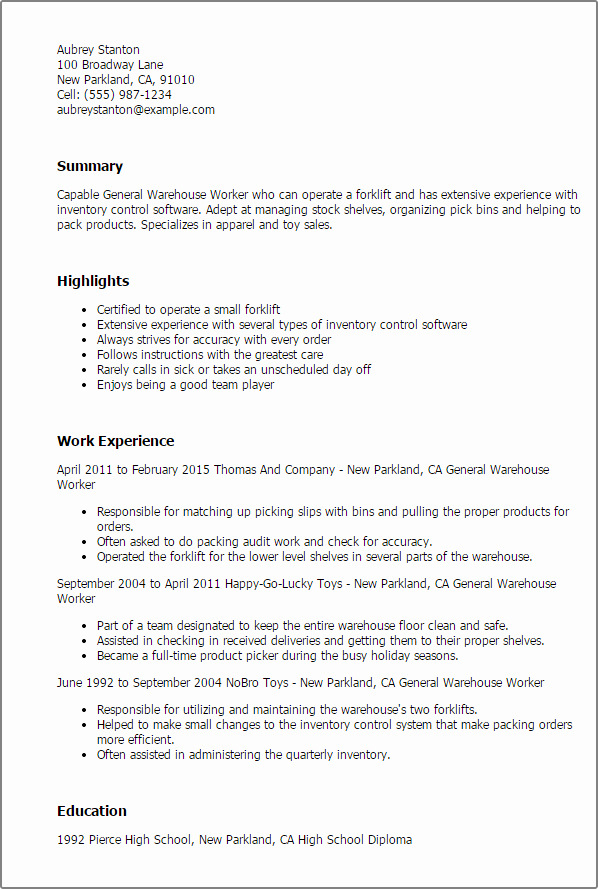 1 General Warehouse Worker Resume Templates Try them now