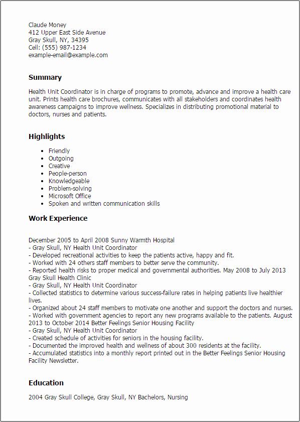 Health Unit Coordinator Resume Latter Example Template Png 598x841 Wellness Sample