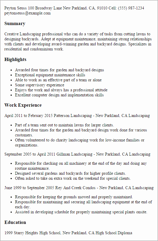 1 Landscaping Resume Templates Try them now