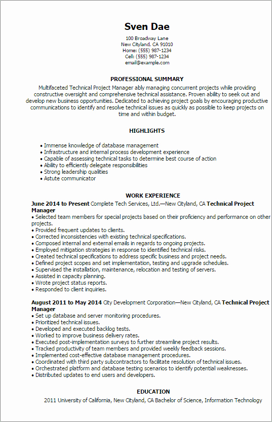 1 Technical Project Manager Resume Templates Try them