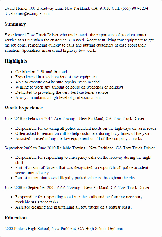 1 tow Truck Driver Resume Templates Try them now