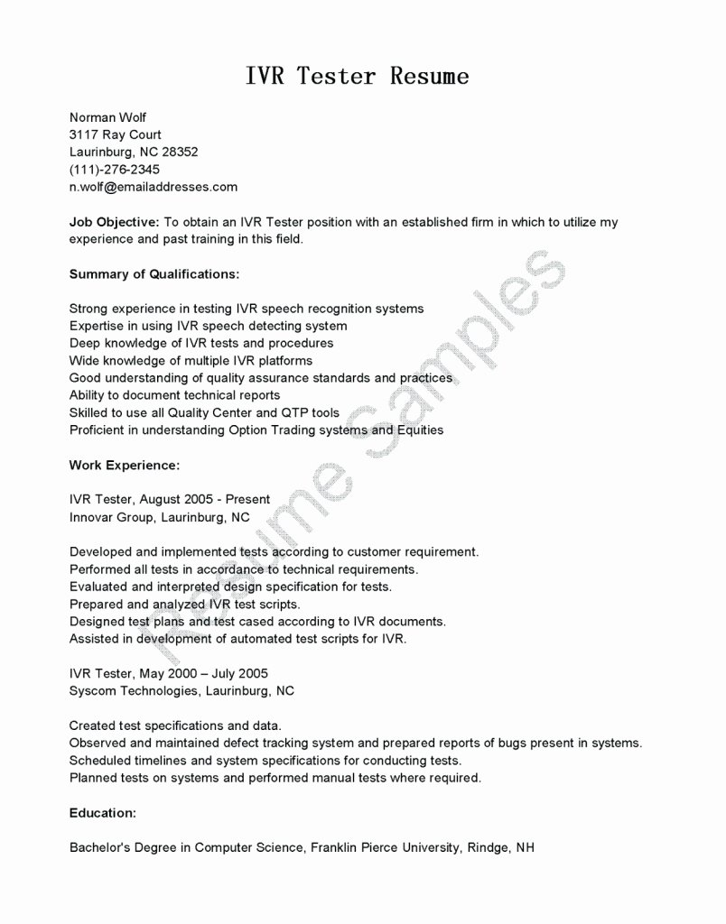 1 Year Experience Resume format for Testing Gulijobs
