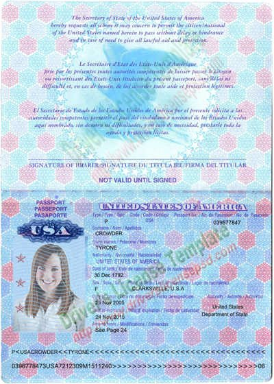 10 11 American Passport Template